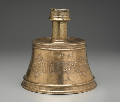 <em>Candlestick with Arabic Inscriptions in Thuluth, Naskh, and Kufic Scripts</em>, first half of the 14th century. Copper alloy, punched, engraved, and inlaid with silver, 11 3/4 in. (29.8 cm). Brooklyn Museum, Gift of the Ernest Erickson Foundation, Inc., 86.227.197. Creative Commons-BY (Photo: Brooklyn Museum, 86.227.197_PS2.jpg)