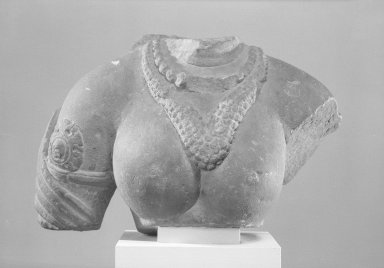 <em>Female Bust</em>, 5th century. Sandstone, 7 1/2 x 11 7/16 x 4 5/16 in. (19 x 29 x 11 cm). Brooklyn Museum, Gift of the Ernest Erickson Foundation, Inc., 86.227.23. Creative Commons-BY (Photo: Brooklyn Museum, 86.227.23_acetate_bw.jpg)