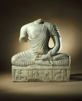<em>Seated Buddha Torso</em>, late 3rd century. Green limestone, 16 1/2 × 15 × 4 1/8 in. (41.9 × 38.1 × 10.5 cm). Brooklyn Museum, Gift of the Ernest Erickson Foundation, Inc., 86.227.24. Creative Commons-BY (Photo: Brooklyn Museum, 86.227.24_SL1.jpg)