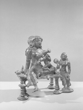 <em>Yasoda-Krishna Group</em>, 13th century. Bronze, 5 5/8 x 3 1/4in. (14.3 x 8.3cm). Brooklyn Museum, Gift of the Ernest Erickson Foundation, Inc., 86.227.25. Creative Commons-BY (Photo: Brooklyn Museum, 86.227.25_acetate_bw.jpg)