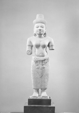 <em>Female Figure</em>, 13th century or later. Gray sandstone, 31 1/2 x 10 x 4 1/2 in. (80 x 25.4 x 11.5 cm). Brooklyn Museum, Gift of the Ernest Erickson Foundation, Inc., 86.227.38. Creative Commons-BY (Photo: Brooklyn Museum, 86.227.38_acetate_bw.jpg)