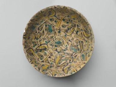 <em>Bowl with Birds</em>, 10th century. Ceramic; earthenware, painted in black slip and green and yellow pigments under a transparent glaze, 3 1/4 x 8 1/2in. (8.3 x 21.6cm). Brooklyn Museum, Gift of the Ernest Erickson Foundation, Inc., 86.227.3. Creative Commons-BY (Photo: Brooklyn Museum, 86.227.3_top_PS2.jpg)
