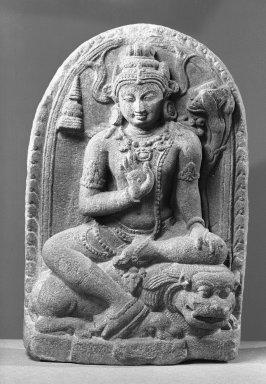 <em>Bodhisattva Manjushri as Manjughosa</em>, ca. 9th-10th century. Gray stone, 13 1/2 x 8 3/4 x 2 3/4 in. (34.3 x 22.2 x 7 cm). Brooklyn Museum, Gift of the Ernest Erickson Foundation, Inc., 86.227.45. Creative Commons-BY (Photo: Brooklyn Museum, 86.227.45_acetate_bw.jpg)