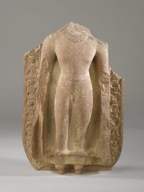 <em>Torso of a Standing Buddha</em>, 5th century. Red sandstone, 16 x 10 x 4 1/2 in. (40.6 x 25.4 cm). Brooklyn Museum, Gift of the Ernest Erickson Foundation, Inc., 86.227.47. Creative Commons-BY (Photo: Brooklyn Museum, 86.227.47_PS6.jpg)