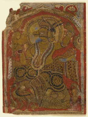 Indian. <em>Harinegameshin Carrying the Embryo, Fragment of a Leaf from a Dispersed Kalpasutra</em>, 16th century. Opaque watercolor on gold leaf on paper, sheet: 4 x 3 in.  (10.2 x 7.6 cm). Brooklyn Museum, Gift of the Ernest Erickson Foundation, Inc., 86.227.49 (Photo: Brooklyn Museum, 86.227.49_IMLS_PS4.jpg)