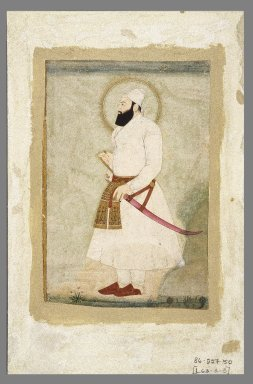 Minuchihr. <em>Portrait of Abu'l Hasan, the Last Sultan of Golconda</em>, late 17th-early 18th century. Opaque watercolors and gold on paper, sheet: 11 3/4 x 7 5/8 in.  (29.8 x 19.4 cm). Brooklyn Museum, Gift of the Ernest Erickson Foundation, Inc., 86.227.50 (Photo: Brooklyn Museum, 86.227.50_IMLS_SL2.jpg)