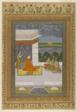 Indian. <em>Figures on a Terrace</em>, ca. 1760-1775. Opaque watercolor and gold on paper, sheet: 18 15/16 x 12 7/8 in.  (48.1 x 32.7 cm). Brooklyn Museum, Gift of the Ernest Erickson Foundation, Inc., 86.227.54 (Photo: Brooklyn Museum, 86.227.54_IMLS_PS4.jpg)