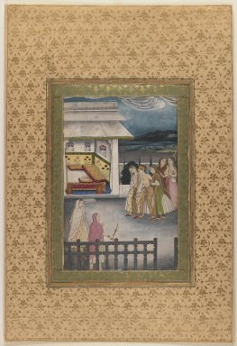 Indian. <em>A Lady Being Led to her Bedchamber</em>, late 18th century. Opaque watercolors on paper, sheet: 18 5/16 x 12 7/16 in.  (46.5 x 31.6 cm). Brooklyn Museum, Gift of the Ernest Erickson Foundation, Inc., 86.227.55 (Photo: Brooklyn Museum, 86.227.55_IMLS_PS3.jpg)
