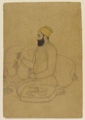 Hardas (son of Anup Chatar). <em>Portrait of Mirza Dakhani, Naubat Khan</em>, late 17th century. Color wash on paper, sheet: 7 1/4 x 4 7/8 in.  (18.4 x 12.4 cm). Brooklyn Museum, Gift of the Ernest Erickson Foundation, Inc., 86.227.56 (Photo: Brooklyn Museum, 86.227.56_PS1.jpg)
