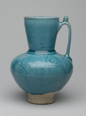 <em>Ewer</em>, 12th-13th century. Ceramic; fritware, with incised decoration under a turquoise glaze, 8 x 5 1/2 in. (20.3 x 14cm). Brooklyn Museum, Gift of the Ernest Erickson Foundation, Inc., 86.227.59. Creative Commons-BY (Photo: Brooklyn Museum, 86.227.59_side1_PS2.jpg)