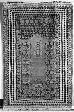 <em>Prayer Rug</em>, 18th century. Wool, Old Dims: 74 x 49 in. (188 x 124.5 cm). Brooklyn Museum, Gift of the Ernest Erickson Foundation, Inc., 86.227.93. Creative Commons-BY (Photo: Brooklyn Museum, 86.227.93a_overall_acetate_bw.jpg)