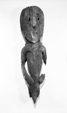 Abelam. <em>Figure</em>. Wood, 34 in. (86.4 cm). Brooklyn Museum, Gift of Evelyn A. J. Hall and John A. Friede, 86.229.12. Creative Commons-BY (Photo: Brooklyn Museum, 86.229.12_bw.jpg)