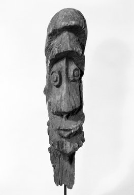 Ewa. <em>Head (Koanggingge)</em>, 19th or 20th century. Wood, 24 1/2 x 5 1/4 x 6 3/4 in. (62.2 x 13.3 x 17.1 cm). Brooklyn Museum, Gift of Marcia and John Friede and Mrs. Melville W. Hall, 86.229.15. Creative Commons-BY (Photo: Brooklyn Museum, 86.229.15_bw.jpg)