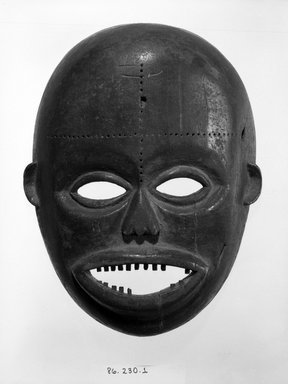 Ngbaka. <em>Face Mask</em>, 20th century. Wood, pigment, 11 1/2 x 9 1/8 x 3 1/2 in. (29.2 x 23.2 x 9.0 cm). Brooklyn Museum, Gift of Dr. Martin and Suzanne Schulman, 86.230.1. Creative Commons-BY (Photo: Brooklyn Museum, 86.230.1_bw.jpg)