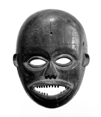 Ngbaka. <em>Face Mask</em>, 20th century. Wood, pigment, 11 1/2 x 9 1/8 x 3 1/2 in. (29.2 x 23.2 x 9.0 cm). Brooklyn Museum, Gift of Dr. Martin and Suzanne Schulman, 86.230.1. Creative Commons-BY (Photo: Brooklyn Museum, 86.230.1_bw_SL3.jpg)
