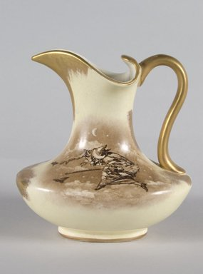 Hampshire Pottery. <em>Pitcher</em>, ca. 1892. Glazed earthenware, 6 1/2 x 6 x 4 1/2 in. (16.5 x 15.2 x 11.4 cm). Brooklyn Museum, Gift of Mr. and Mrs. Jay Lewis, 86.242.3. Creative Commons-BY (Photo: Brooklyn Museum, 86.242.3_PS5.jpg)