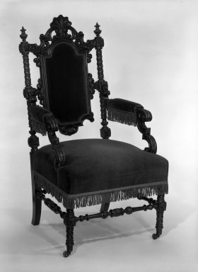 Alexander Roux (American, born France, 1813-1886 (active New York, 1836-1880)). <em>Armchair</em>, ca. 1850. Rosewood, 45 1/4 x 23 1/4 x 25 3/4 in. (114.9 x 59.1 x 65.4 cm). Brooklyn Museum, Anonymous gift, 86.244.1. Creative Commons-BY (Photo: Brooklyn Museum, 86.244.1_bw_IMLS.jpg)