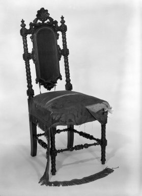 Alexander Roux (American, born France, 1813-1886 (active New York, 1836-1880)). <em>Side Chair</em>, ca. 1850. Rosewood, 40 3/4 x 17 1/4 x 18 in. (103.5 x 43.8 x 45.7 cm). Brooklyn Museum, Anonymous gift, 86.244.2. Creative Commons-BY (Photo: Brooklyn Museum, 86.244.2_bw_IMLS.jpg)