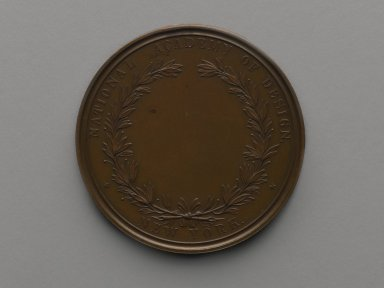 William Barber (American, born England, 1807-1879). <em>Charles Loring Elliott Medal</em>, ca. 1870. Bronze, 2 1/2 x 2 1/2 x 3/16 in. (6.4 x 6.4 x 0.5 cm). Brooklyn Museum, Gift of M. Christman Zulli, 86.248.3. Creative Commons-BY (Photo: Brooklyn Museum, 86.248.3_bottom_PS2.jpg)