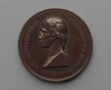 William Barber (American, born England, 1807-1879). <em>David Rittenhouse Medal</em>, ca. 1871. Bronze, 1 13/16 x 1 13/16 x 3/16 in. (4.6 x 4.6 x 0.5 cm). Brooklyn Museum, Gift of M. Christmann Zulli, 86.248.5. Creative Commons-BY (Photo: Brooklyn Museum, 86.248.5_side1_PS2.jpg)