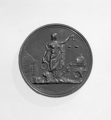 William Barber (American, born England, 1807-1879). <em>U. S. Mint Annual Assay Medal</em>, 1870. Bronze, 1 3/8 x 1 3/8 x 1/8 in. (3.5 x 3.5 x 0.3 cm). Brooklyn Museum, Gift of M. Christmann Zulli, 86.248.7. Creative Commons-BY (Photo: Brooklyn Museum, 86.248.7_side1_cropped_bw.jpg)
