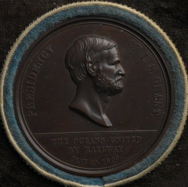 William Barber (American, born England, 1807-1879). <em>Pacific Railroad Commemorative Medal</em>, 1869. Bronze, Medal, diameter: 1 3/4 in. (4.4 cm). Brooklyn Museum, Gift of M. Christmann Zulli, 86.248.8a-b. Creative Commons-BY (Photo: Brooklyn Museum, 86.248.8a_PS2.jpg)