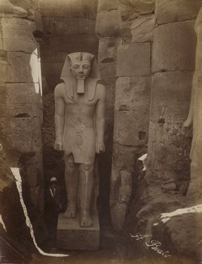 Antonio Beato (Italian and British, ca. 1825-ca.1903). <em>Louxor Statue de Rameses</em>, 19th century. Albumen silver photograph, image/sheet: 10 1/2 x 8 in. (26.6 x 20.3 cm). Brooklyn Museum, Gift of Alan Schlussel, 86.250.10 (Photo: Brooklyn Museum, 86.250.10_PS4.jpg)