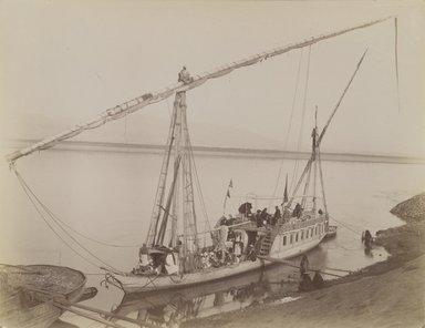Antonio Beato (Italian and British, ca. 1825-ca.1903). <em>Louxor Dahabieh</em>, 19th century. Albumen silver photograph, image/sheet: 8 x 10 3/8 in. (20.3 x 26.4 cm). Brooklyn Museum, Gift of Alan Schlussel, 86.250.12 (Photo: Brooklyn Museum, 86.250.12_PS4.jpg)