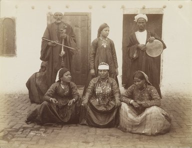 Antonio Beato (Italian and British, ca. 1825-ca.1903). <em>Danseusses Arabe</em>, 19th century. Albumen silver photograph, image/sheet: 8 x 10 3/8 in. (20.3 x 26.4 cm). Brooklyn Museum, Gift of Alan Schlussel, 86.250.17 (Photo: Brooklyn Museum, 86.250.17_PS4.jpg)