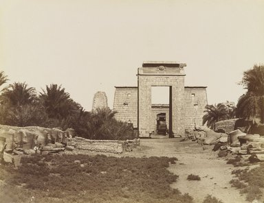 Antonio Beato (Italian and British, ca. 1825-ca.1903). <em>Karnak Sphinx et Pylone de Ptolomee</em>, 19th century. Albumen silver photograph, image/sheet: 7 15/16 x 10 3/16 in. (20.2 x 25.9 cm). Brooklyn Museum, Gift of Alan Schlussel, 86.250.18 (Photo: Brooklyn Museum, 86.250.18_PS4.jpg)