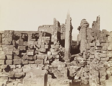 Antonio Beato (Italian and British, ca. 1825-ca.1903). <em>Karnak Vue du Milieu</em>, 19th century. Albumen silver photograph, image/sheet: 10 7/16 x 8 in. (26.5 x 20.3 cm). Brooklyn Museum, Gift of Alan Schlussel, 86.250.19 (Photo: Brooklyn Museum, 86.250.19_PS4.jpg)