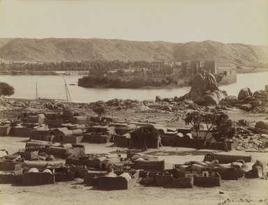 Antonio Beato (Italian and British, ca. 1825-ca.1903). <em>Phile Vue du Sud [View from the South]</em>, late 19th century. Albumen silver photograph, image/sheet: 7 13/16 x 10 3/16 in. (19.8 x 25.9 cm). Brooklyn Museum, Gift of Alan Schlussel, 86.250.1 (Photo: Brooklyn Museum, 86.250.1_PS4.jpg)