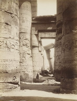 Antonio Beato (Italian and British, ca. 1825-ca.1903). <em>Karnak Interieur de la Salle</em>, 19th century. Albumen silver photograph, image/sheet: 10 7/16 x 8 in. (26.5 x 20.3 cm). Brooklyn Museum, Gift of Alan Schlussel, 86.250.20 (Photo: Brooklyn Museum, 86.250.20_PS4.jpg)
