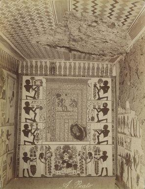 Antonio Beato (Italian and British, ca. 1825-ca.1903). <em>Interieur du Tombeau Nakht</em>, 19th century. Albumen silver photograph, image/sheet: 10 3/8 x 7 15/16 in. (26.4 x 20.2 cm). Brooklyn Museum, Gift of Alan Schlussel, 86.250.21 (Photo: Brooklyn Museum, 86.250.21_PS4.jpg)
