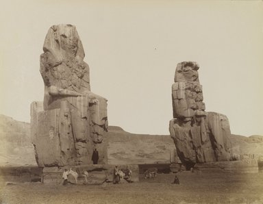 Antonio Beato (Italian and British, ca. 1825-ca.1903). <em>Colossi de Memnon</em>, 19th century. Albumen silver photograph, image/sheet: 8 1/16 x 10 3/8 in. (20.5 x 26.3 cm). Brooklyn Museum, Gift of Alan Schlussel, 86.250.23 (Photo: Brooklyn Museum, 86.250.23_PS4.jpg)