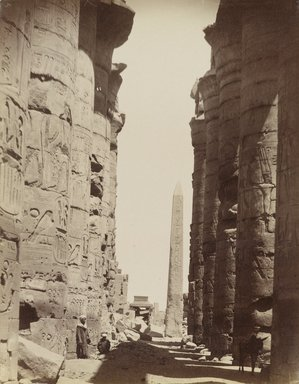 Antonio Beato (Italian and British, ca. 1825-ca.1903). <em>Karnak Colonnes et Obelisque</em>, 19th century. Albumen silver photograph, image/sheet: 10 3/16 x 7 13/16 in. (25.8 x 19.9 cm). Brooklyn Museum, Gift of Alan Schlussel, 86.250.28 (Photo: Brooklyn Museum, 86.250.28_PS4.jpg)
