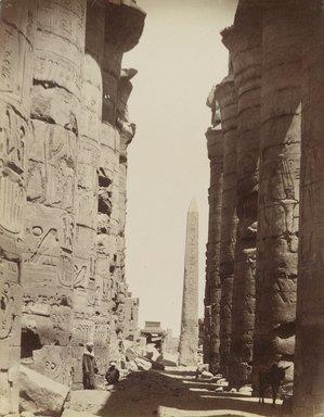 Antonio Beato (Italian and British, ca. 1825-ca.1903). <em>Karnak Colonnes et Obelisque</em>, 19th century. Albumen silver photograph, image/sheet: 10 3/16 x 7 13/16 in. (25.8 x 19.9 cm). Brooklyn Museum, Gift of Alan Schlussel, 86.250.28 (Photo: Brooklyn Museum, 86.250.28_PS4.jpg)