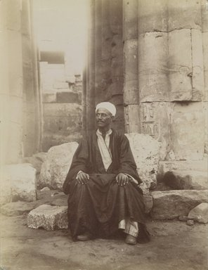 Antonio Beato (Italian and British, ca. 1825-ca.1903). <em>Yousouf</em>, 19th century. Albumen silver photograph, image/sheet: 10 1/2 x 7 15/16 in. (26.6 x 20.2 cm). Brooklyn Museum, Gift of Alan Schlussel, 86.250.29 (Photo: Brooklyn Museum, 86.250.29_PS4.jpg)
