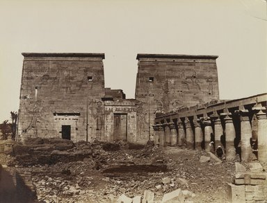 Antonio Beato (Italian and British, ca. 1825-ca.1903). <em>Phile Vue de Pylone avec les Colonnes (Temple of Isis pylon; view with columns looking North, Philae)</em>, late 19th century. Albumen silver photograph, image/sheet: 7 15/16 x 10 3/8 in. (20.2 x 26.4 cm). Brooklyn Museum, Gift of Alan Schlussel, 86.250.2 (Photo: Brooklyn Museum, 86.250.2_PS4.jpg)