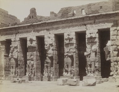 Antonio Beato (Italian and British, ca. 1825-ca.1903). <em>Medinet Habou Lere Cour Cote Nord</em>, 19th century. Albumen silver photograph, image/sheet: 7 7/8 x 10 3/16 in. (20 x 25.9 cm). Brooklyn Museum, Gift of Alan Schlussel, 86.250.30 (Photo: Brooklyn Museum, 86.250.30_PS4.jpg)