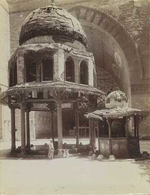 Antonio Beato (Italian and British, ca. 1825-ca.1903). <em>Fountain in Mosque of Sultan Hassan</em>, 19th century. Albumen silver photograph, image/sheet: 10 5/16 x 8 1/8 in. (26.2 x 20.6 cm). Brooklyn Museum, Gift of Alan Schlussel, 86.250.31 (Photo: Brooklyn Museum, 86.250.31_PS4.jpg)