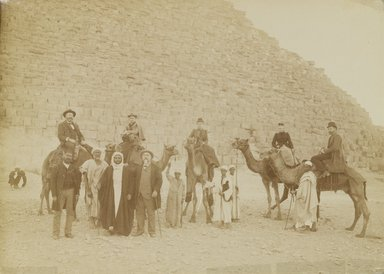 Antonio Beato (Italian and British, ca. 1825-ca.1903). <em>[Untitled] (Giza, Family of Tourists)</em>, 19th century. Albumen silver photograph, image/sheet: 7 1/4 x 10 1/16 in. (18.4 x 25.6 cm). Brooklyn Museum, Gift of Alan Schlussel, 86.250.32 (Photo: Brooklyn Museum, 86.250.32_PS4.jpg)