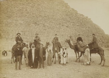 Antonio Beato (Italian and British, ca. 1825-ca.1903). <em>[Untitled] (Giza, Family of Tourists)</em>, 19th century. Albumen silver photograph, image/sheet: 7 3/16 x 10 in. (18.2 x 25.4 cm). Brooklyn Museum, Gift of Alan Schlussel, 86.250.33 (Photo: Brooklyn Museum, 86.250.33_PS4.jpg)