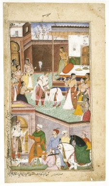 Mohan (Son of Banwari). <em>Gautama is Relieved to Find That His Son Chirakarin Has Not Carried Out His Impulsive Order to Execute Ahalya, Leaf from a Razmnama Manuscript</em>, 1598-1599. Opaque watercolor and gold on paper, Sheet:12 x 6 13/16 in. (30.5 x 17.3 cm). Brooklyn Museum, Gift of Danielle and Richard A. Bertocci, 86.253 (Photo: Brooklyn Museum, 86.253_IMLS_SL2.jpg)