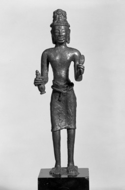 <em>Standing Maitreya</em>. Bronze, 8 1/2 x 1 3/4 x 7/8 in. (21.6 x 4.5 x 2.3 cm). Brooklyn Museum, Gift of Mr. and Mrs. Edward Greenberg, 86.259.2. Creative Commons-BY (Photo: Brooklyn Museum, 86.259.2_bw.jpg)