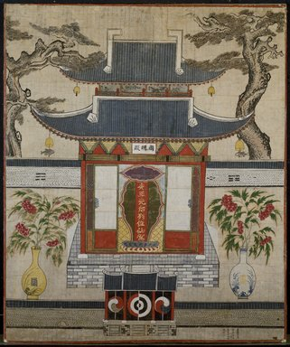 <em>Spirit Shrine</em>, June 1811. Ink and color on paper, 67 5/16 x 56 5/8 in.  (171.0 x 143.8 cm). Brooklyn Museum, Designated Purchase Fund, 86.25 (Photo: Brooklyn Museum, 86.25_SL3.jpg)