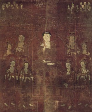 <em>Amit'a (Amitabha) and the Eight Bodhisattvas</em>, Dated in accordance with 1666. Hanging scroll; ink and gold on silk, 39 x 32 in. (99.1 x 81.3cm). Brooklyn Museum, Gift of Mr. and Mrs. Herbert Greenberg, 86.260.1 (Photo: Brooklyn Museum, 86.260.1.jpg)