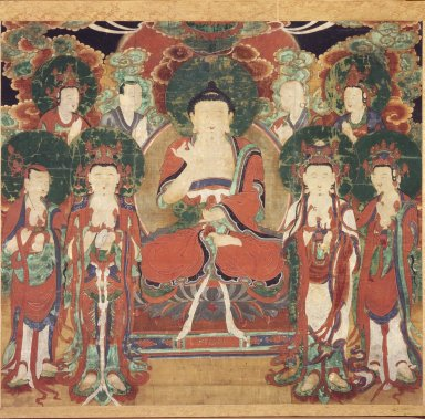 <em>Amit'a (Amitabha) with Six Bodhisattvas and Two Arhats</em>, 19th century. Ink and colors on silk, 31 3/4 x 35 1/4 in.  (80.6 x 89.5 cm). Brooklyn Museum, Gift of Mr. and Mrs. Herbert Greenberg, 86.260.2 (Photo: Brooklyn Museum, 86.260.2.jpg)