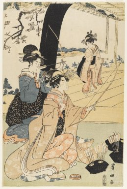 Utagawa Toyokuni I (Japanese, 1769-1825). <em>Young Samurai and Female Attendants Practicing Archery, Half of a Diptych</em>, ca. 1800. Woodblock print, 15 1/8 x 10 in. (38.4 x 25.4 cm). Brooklyn Museum, Gift of Mr. and Mrs. Ran Hettena, 86.263.10 (Photo: Brooklyn Museum, 86.263.10_IMLS_PS4.jpg)