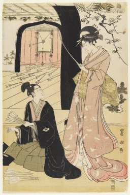 Utagawa Toyokuni I (Japanese, 1769-1825). <em>Young Samurai and Female Attendants Practicing Archery, Half of a Diptych</em>, ca. 1800. Diptych, woodblock print, 15 1/4 x 10 1/8 in. (38.7 x 25.7 cm). Brooklyn Museum, Gift of Mr. and Mrs. Ran Hettena, 86.263.11 (Photo: Brooklyn Museum, 86.263.11_IMLS_PS4.jpg)